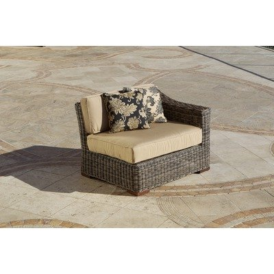 RST Outdoor OP-PE48L-LNK-WG Resort Collection 48-Inch Left Side Sofa End Rattan Patio Furniture, Weathered Gray