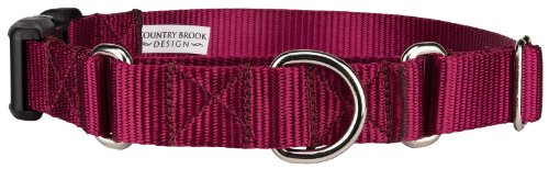 Country Brook Design Heavyduty Nylon Martingale with Deluxe Buckle-Burgundy-M