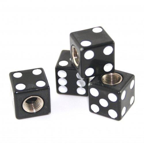 4 Bouchons de Valve Set gezinkte Cube Noir pour Moto et Voiture KUSTOM66 TH100020