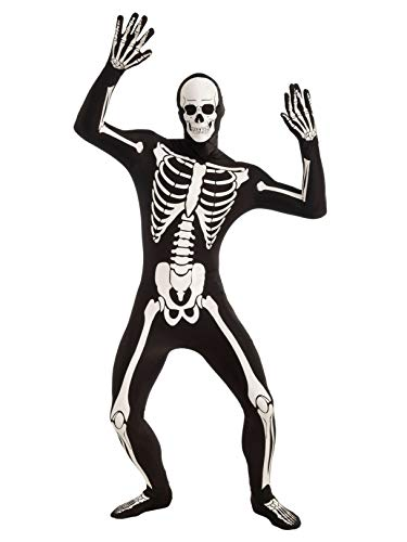 Forum Novelties Men's Disappearing Man Patterned Stretch Body Suit Costume Glow-In-The-Dark Skeleton, Black/White, Medium/Large]()