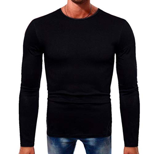 us Size Solid Color Long Sleeve Button Basic Blouse Men Tee Shirt (Black,S) ()