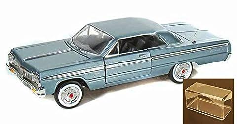Diecast Car & Accessory Package - 1964 Chevy Impala, Metallic Blue - Showcasts 73259 - 1/24 Scale Diecast Model Car w/display case