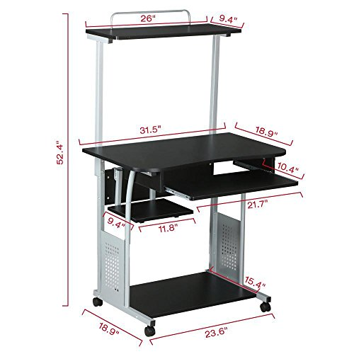 Topeakmart 2 Tier Computer Desk With Printer Shelf Stand