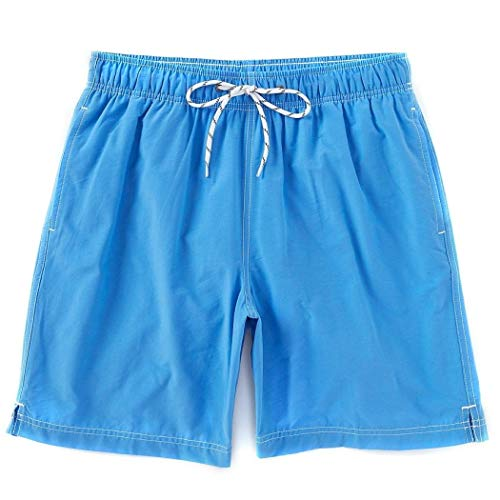 Roundtree & Yorke Men's Big & Tall Solid Color Swim Trunks (Pool Blue, 2X Big)