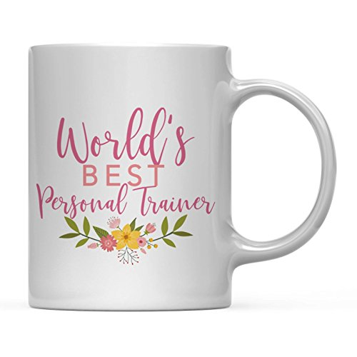 Worlds Best Trainer - Andaz Press 11oz. Coffee Mug Gag Gift, World's Best Personal Trainer, Floral Flowers Design, 1-Pack, Birthday Christmas Gift Ideas for Her