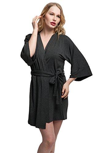 expressbuynow Comfortable Cotton Kimono Bathrobe