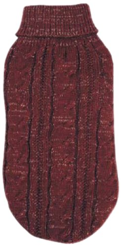 East Side Collection Lurex Cable Knit Sweater, XX-Small, Cabernet