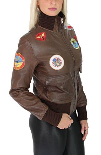 La Mujer Top Aérea Cuero Real Estilo Fuerza Glory Chaqueta Marrón Gun De Bombardero gF0Ftr