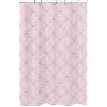 Amazon.com: Pink, Gray and White Elizabeth Kids Bathroom Fabric ...