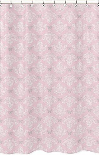 Sweet Jojo Designs ピンク グレー ホワイト シャビーシック Alexa ダマスク バタフライ ガールズ キッズ バスルーム ファブリック バスシャワー カーテン   B013K8RN7G