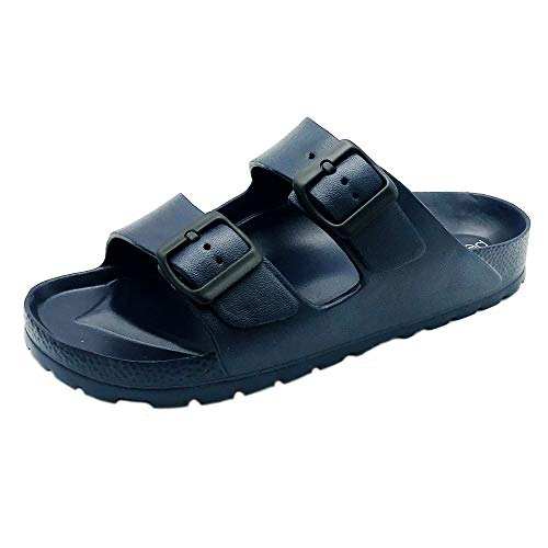 Women's Open Toe Waterproof Slip-on Flat Slide Sandals   Double Adjustable Buckle Straps   EVA Material and Odor Resistant Footbed with Arch Support   Flexible and Lightweight Synthetic Midsole (11 M, NAVY) (Funky Monkey Shoes)