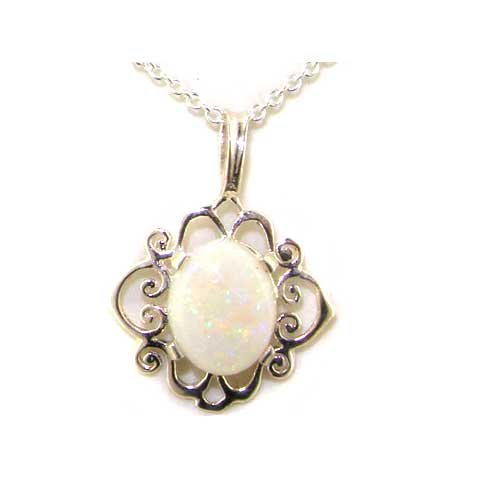 Ladies Solid 925 Sterling Silver Ornate 9x7mm Natural Fiery Opal Pendant Necklace