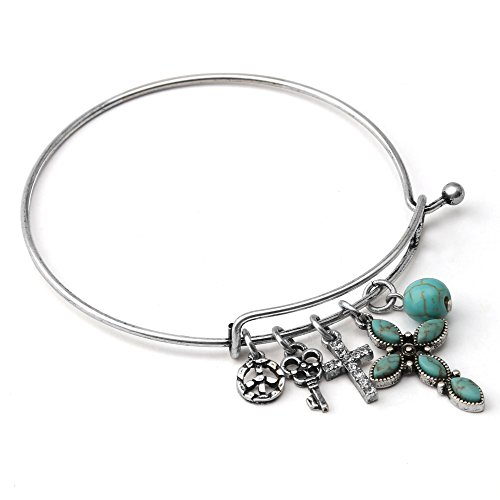 Komene Antique Cross Cross Expandable Charm Bangle Adjustable Wire Bracelet Adorned with Swarovski (High End Cross)
