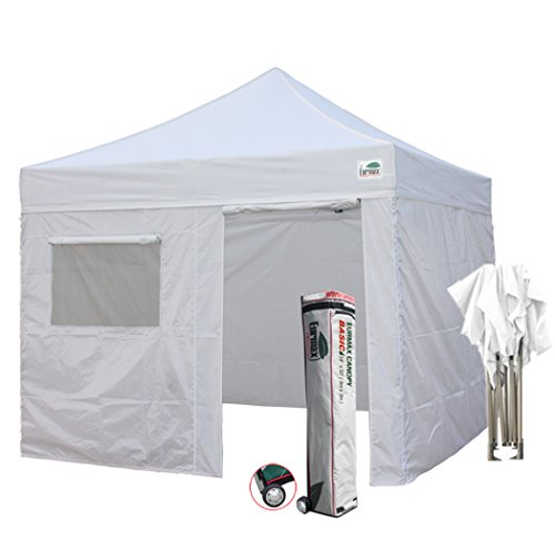 New Eurmax Basic 10x10 Ez Pop Up Canopy Outdoor canopy Instant Tent Package deal+4 Removable Zipper end Sidewalls+ Roller Bag (White) (Furniture Package Deals Online)