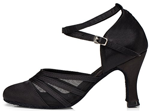 Salabobo YYM-L189 Womens Latin Ballroom Party Wedding Cha-cha Closed Toe Mid Heel Satin Mesh Dance Shoes Black vF6q0TR0