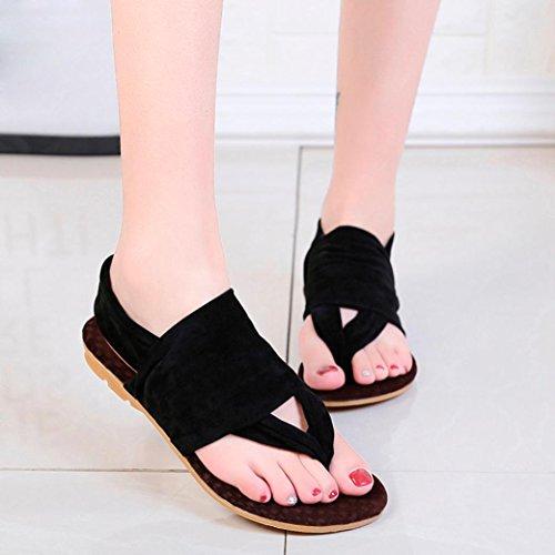 A Semelle Talons Sexy Noir Femmes Chaussures BohèMe Flop Plate Beautyjourney Flip Sandales Femmes Tongs Souple Sandales Chaussures Forme Beach 0q58w1