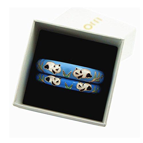 (UJOY Vintage Jewelry Cloisonne Bracelet Flower Enameled Gift Hinge Open Bangles for Women 55C43 Panda Blue)