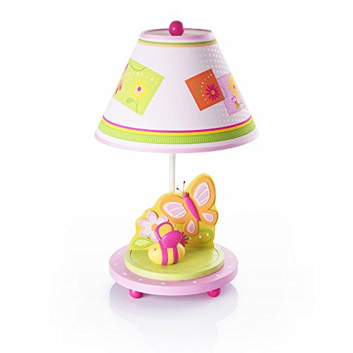 Guidecraft Hand-painted & Hand Crafted Gleeful Bugs Kids Table Lamp (Light For Butterfly Children Shades)