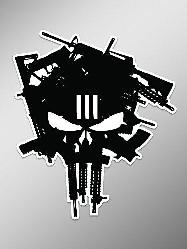 NI928 3 Percenter Machine Gun Punisher Skull Decal Sticker | 5.5 Inches By 4.5 Inches Premium Quality Decal -