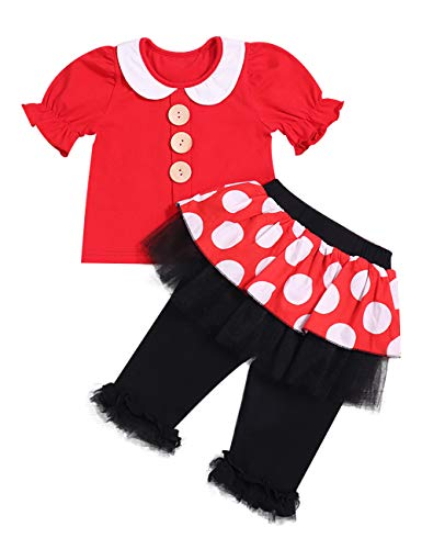 Little Baby Girls Clothes Set New Year Baby Girl Outfit Red Lapel Short Sleeve Top+Wave Point Long Pant Skirts - Pant Atp