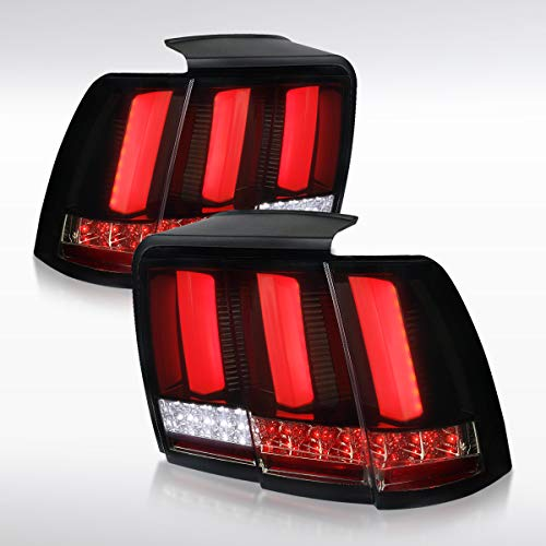 Autozensation For Ford Mustang Glossy Black Dark Smoke LED Sequential Brake Tail Lights Pair (Cobra Lights 2001 Tail)