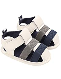 Boy Girl Summer Outdoor Closed-Toe Leather Sandals Soft Sole Anti-Slip Toddler Infant Girls First Walker Shoes
