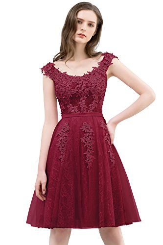 Rot Brautjungfernkleid Knielang Tüll 32 Damen MisShow Abendkleid Applique Ballkleid Elegant Wein 46 FHBFw0qP