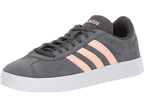adidas Women's VL Court 2.0 Sneaker, Grey/Glow Pink/White, 7.5 M US
