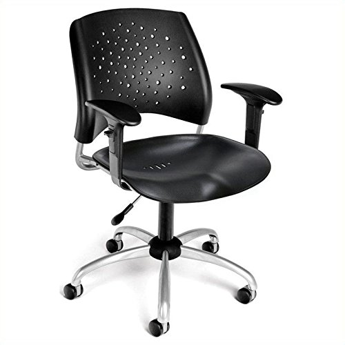 OFM 326-P-AA3-BLK Stars Swivel Plastic Chair with Arms