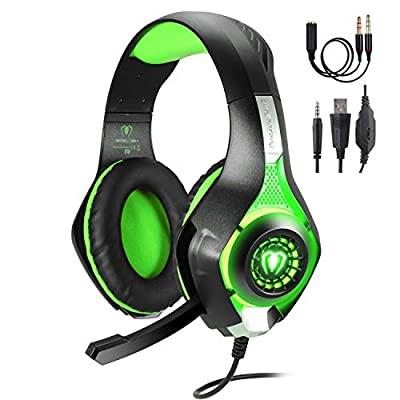 TURN RAISE Professional 3.5mm PC LED Light Gaming Bass Stereo Noise Isolation Over-Ear Headphones Earphones w/Microphone, Volume Control for Sony PS4 Laptop Computer [Playstation_4]