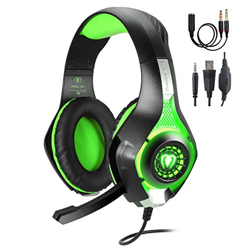 TURN RAISE 3.5mm Stereo Gaming Headset for PS4, PC, Xbox One Controller, Noise Cancelling Over Ear Headphones with Mic, LED Light, Bass Surround, Soft Memory Earmuffs for PC, ()