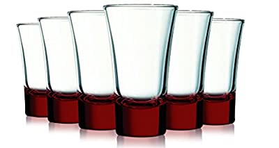 RedEvase Cordial Glasses with Beautiful Colored Accent- 2 oz. set of 6. Additional Vibrant Colors Available