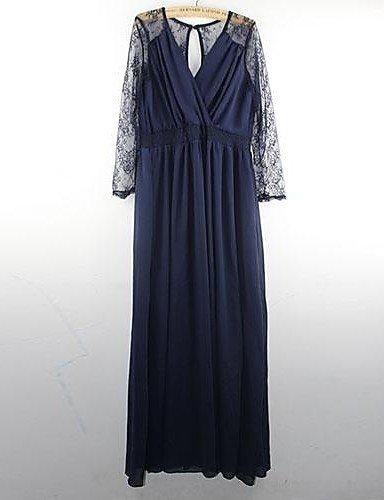 PU&PU Robe Aux femmes Décontracté , Couleur Pleine Surplis Maxi Mousseline de soie , navy blue-m , navy blue-m