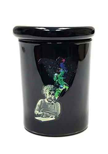 4'' Albert Einstein Glass Storage Pop Top Jar Glass Medical Herb Storage Container by JUST FUNKY