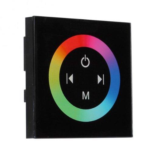 Glas Design RGB LED Dimmer Controller mit Touch Panel für Wandeinbau Wanddimmer 12-24V *Schwarz*
