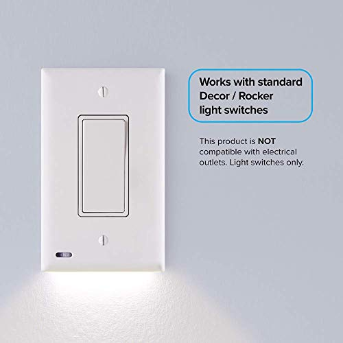 1 Pack SnapPower SwitchLight - Night Light - FOR LIGHT SWITCHES - Light Switch Wall Plate With Built-In LED Night Lights - Bright/Dim/Off Options - (Rocker, White)