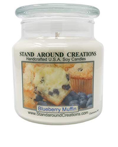 Stand Around Creations Premium 100% Soy Apothecary Candle - 16oz - Blueberry Muffins: The Aroma of Freshly Baked Blueberry - Candle 16 Apothecary Oz