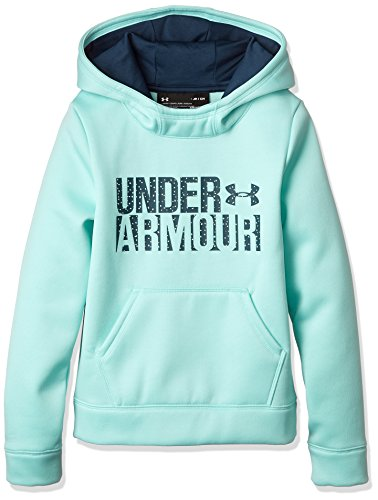 Under Armour Girls Armour Fleece Wordmark Hoodie, Blue Infinity/Blue, Small / 8 Big Kids by Under Armour (Image #1)