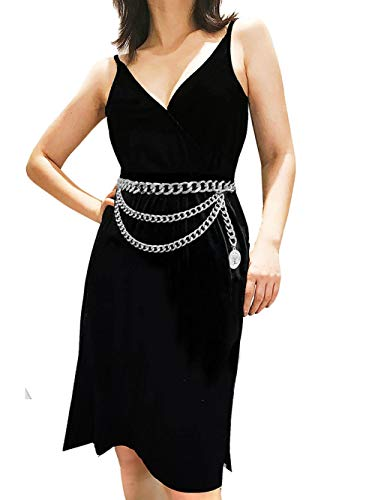 (Women Trendy Multilayer Metal Link Waist Chain Waist Belt Long Tassel Belly Chains Waistbands Body Jewelry (Silver))