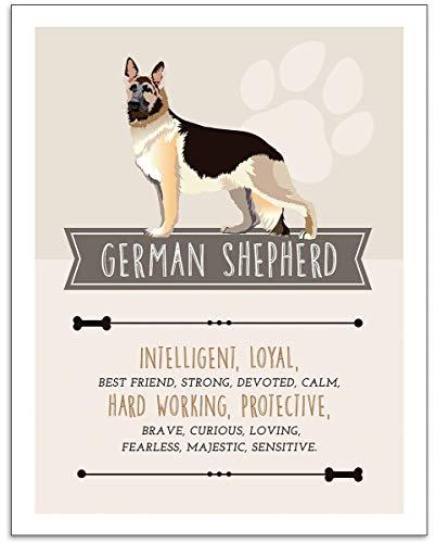 German Shepherd Dog Wall Art - 11x14 Unframed Decor Print - Makes a Great Gift Under $15 for German Shepherd, Dog & Pet Animal Lovers