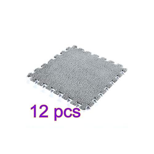 Eva Plush - UNIE 12Pcs Interlocking Foam Mats, Plush Puzzle Floor Tiles Fluffy EVA Foam Anti-Slip Rug for Yoga, Tummy Time, Crawling, and Protective Flooring