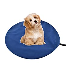 Safe Pet Heating Bed Pad Blanket Cushion Chew Resistant Cord For Dogs Cats Safety Chew Resistant Cord Waterproof Surface with 2 Replace Fleece Soft Removable Cover (30x30cm)