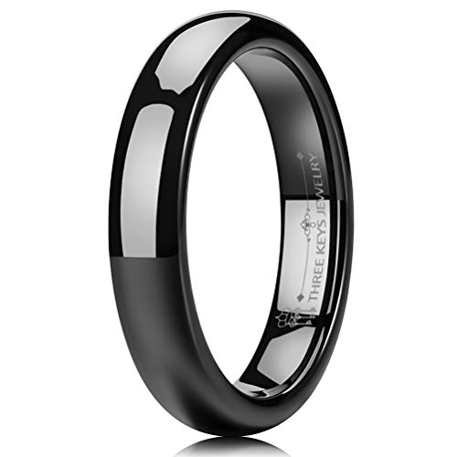 Black Wedding Jewelry - THREE KEYS JEWELRY 4mm Tungsten Carbide Wedding Ring Black Women's Wedding Band Engagement Band Comfort Fit High Polished Classy Domed Size 10