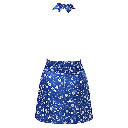 Sexy Dresses, The Latest Fashion hot Sleeveless Halter Vest Multicolor Print Dress(Blue_42,M)