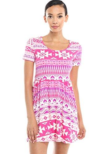 2LUV Women's Short Sleeve Baby Doll Dress Fuchsia (Short Sleeve Baby Doll Dress)