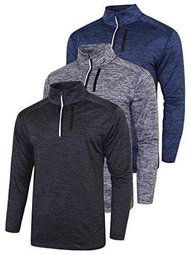3 Pack Men's Long Sleeve Active Quarter Zip Quick Dry Pullover - Athletic Running Cycling Gym Top Shirts Bulk Bundle (Edition 1, Large) (Plain Quarter Zip Pullover)