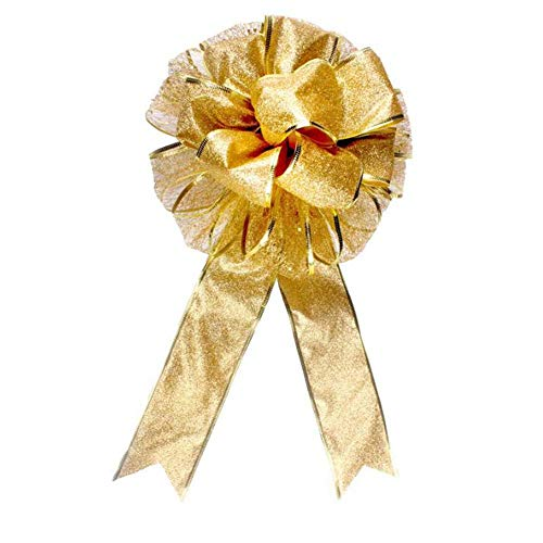 (ANQI Double Christmas Bow, Red and Gold Christmas Bow, Bouquet Decorations, Home Shop Decorations 2PCS)