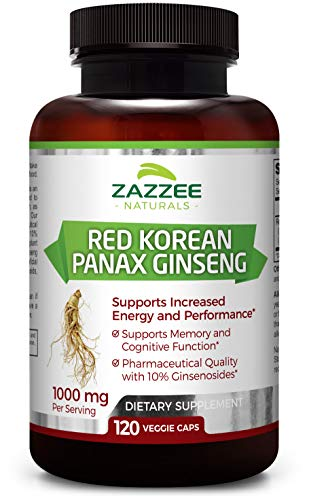 - Red Korean Panax Ginseng | 10% Ginsenosides | Extra Strength | 1000 mg per Serving | 120 Veggie Caps | Vegan, Non-GMO and All-Natural | Premium Support for Energy, Performance and Cognitive Health