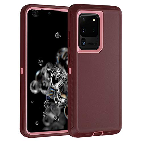 smartelf for Galaxy S20 Ultra Case,Shockproof Full Body Heavy Duty Case, Rugged Cover Drop-Proof Protective Tough Shell for Samsung Galaxy S20 Ultra 5G-Dark Purple/Light Pink