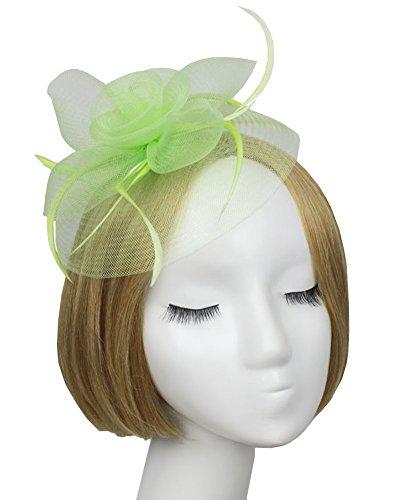 Urban CoCo Women's Vintage Flower Feather Mesh Net Fascinator Hair Clip Hat Party Wedding (Green)